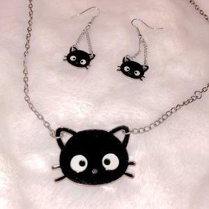 🖤😽SANRIO Chococat Necklace & Earrings set